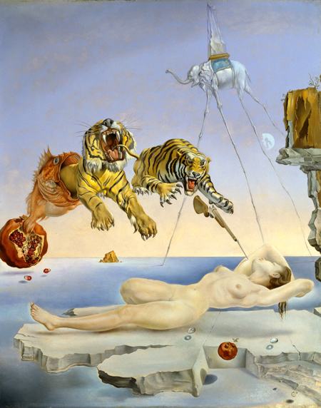 Salvador Dalí. Dream caused by the Flight of a Bee Around a Pomegranate one second before awakening, c. 1944